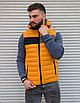 Жёлтая утеплённая мужская жилетка со съёмным капюшоном   100% нейлон + синтепон 150, фото 5