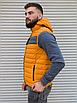 Жёлтая утеплённая мужская жилетка со съёмным капюшоном   100% нейлон + синтепон 150, фото 6