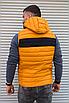 Жёлтая утеплённая мужская жилетка со съёмным капюшоном   100% нейлон + синтепон 150, фото 7