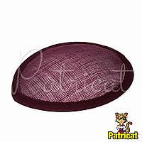 Основа Синамей для шляпки, вуалетки каплевидная Бордовая 10.5x13.5 см