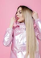 Женская куртка анорак плащовка дождевик Ветровка для девушек розового цвета