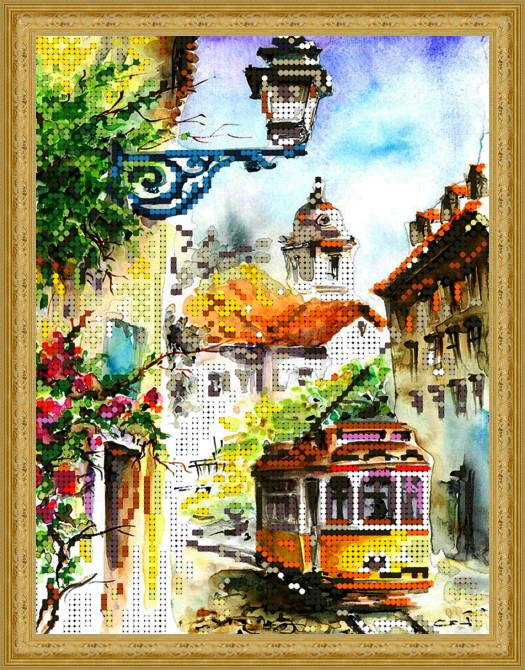 Вышивка бисером, Канва пейзажи архитектура схемы бисером города Летний трамвайчик