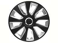 Колпаки R13 черные с серым Stratos, комплект 4 шт