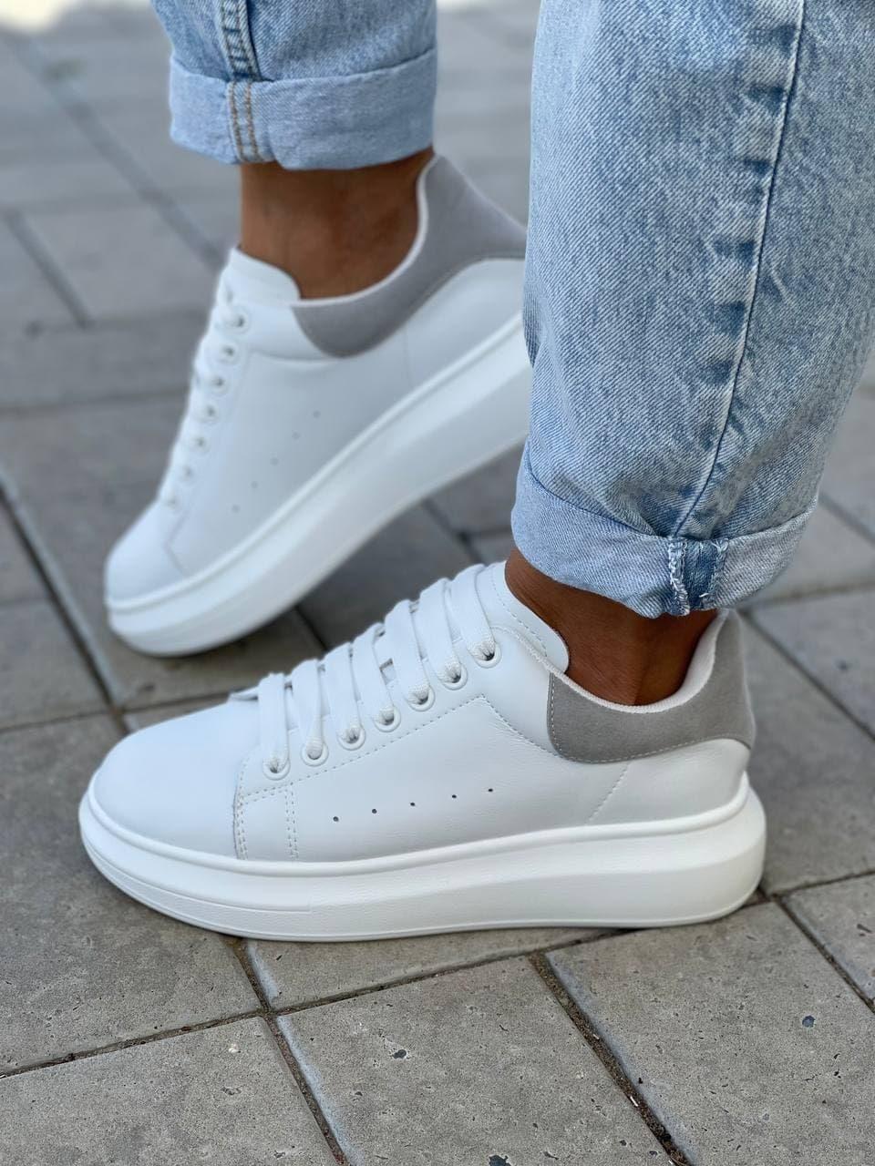 Женские кроссовки белые с серым натуральная кожа весна / осень