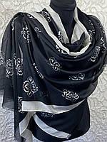 """Хлопковый черно-белый палантин с узором """"Королевская лилия"""" 180х70 см (цв.2)"""