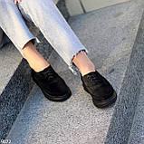 Туфли женские черные на шнуровке натуральная замша, фото 8