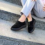 Туфли женские черные на шнуровке натуральная замша, фото 10
