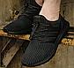 Эластичные шнурки для обуви с фиксатором. Регулируемые резиновые шнурки. Цвет черный с белой точкой, фото 2