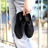 Туфли женские черные на шнуровке натуральная замша, фото 3