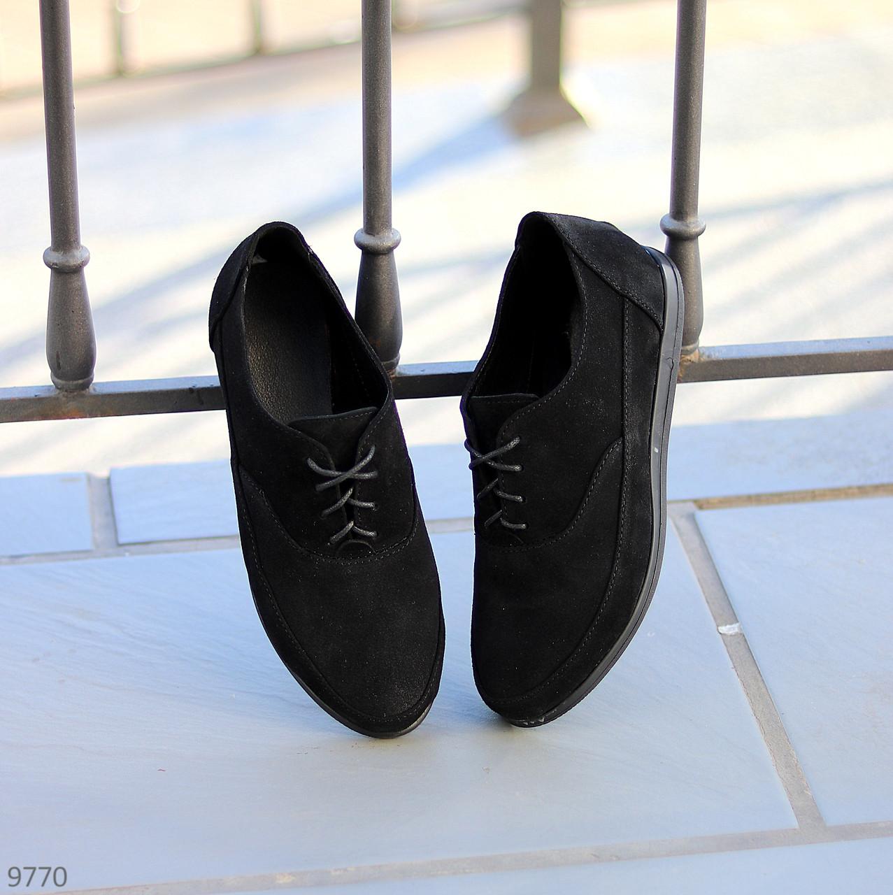 Туфли женские черные на шнуровке натуральная замша