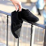 Туфли женские черные на шнуровке натуральная замша, фото 4