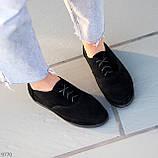 Туфли женские черные на шнуровке натуральная замша, фото 5