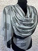 """Хлопковый светло-серый палантин с узором """"Королевская лилия"""" 180х70 см (цв.5)"""