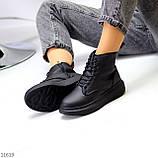 Високі жіночі кросівки - хайтопы чорні еко шкіра, фото 2
