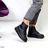 Високі жіночі кросівки - хайтопы чорні еко шкіра, фото 3