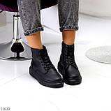 Високі жіночі кросівки - хайтопы чорні еко шкіра, фото 4
