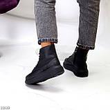 Високі жіночі кросівки - хайтопы чорні еко шкіра, фото 5