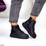 Високі жіночі кросівки - хайтопы чорні еко шкіра, фото 6