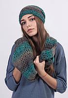 Теплий меланжевий комплект шапка і шарф-хомут, забарвлення різні