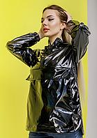 Женская куртка анорак плащовка дождевик Ветровка для девушек чёрного цвета