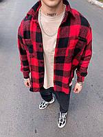 Рубашка мужская стильная в клетку красная с черным. Мужская рубашка клетка хлопковая красного цвета.