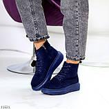 Спортивні черевики/ високі кросівки -хайтопы жіночі ДЕМІ сині еко замш, фото 2