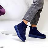 Спортивні черевики/ високі кросівки -хайтопы жіночі ДЕМІ сині еко замш, фото 3