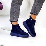 Спортивні черевики/ високі кросівки -хайтопы жіночі ДЕМІ сині еко замш, фото 4