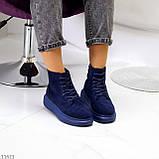 Спортивні черевики/ високі кросівки -хайтопы жіночі ДЕМІ сині еко замш, фото 6