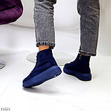 Спортивні черевики/ високі кросівки -хайтопы жіночі ДЕМІ сині еко замш, фото 7