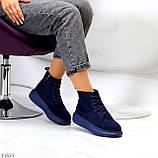 Спортивні черевики/ високі кросівки -хайтопы жіночі ДЕМІ сині еко замш, фото 8