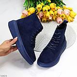 Спортивні черевики/ високі кросівки -хайтопы жіночі ДЕМІ сині еко замш, фото 9