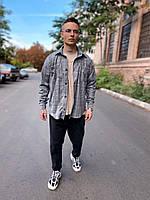Рубашка мужская стильная в клетку серая. Мужская рубашка клетка хлопковая серого цвета.