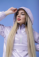 Женская куртка анорак плащовка дождевик Ветровка для девушек лилового цвета