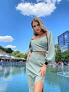 Стильний жіночий костюм двійка (спідниця міді з розрізом і топ з довгим рукавом на резинці), фото 2
