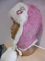 меховая шапка-ушанка со стразами