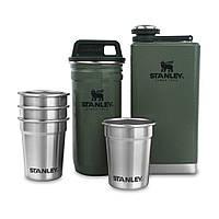 Набір фляга +4 чарки+сталевий кейс з кришкою для чарок Stanley Adventure зелений (01883-034)