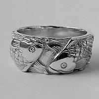 Серебряное кольцо Рыбы с рыбами парные обручальные мужское женское, срібне кольцо каблучка риби з рибами