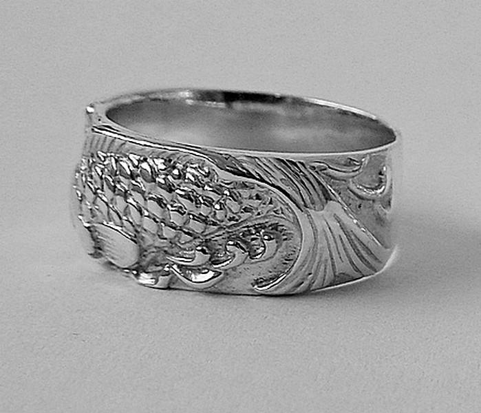 Серебряное кольцо Рыбы с рыбами парные обручальные мужское женское ... 2853eb9b78ea3