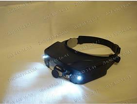 Бинокулярная лупа налобная с подсветкой,специальный наголовник 81007,лупа с подсветкой и зеркалом MG81007-C, фото 2