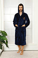 Чоловічий махровий халат на запах з капюшоном бамбук, фото 1