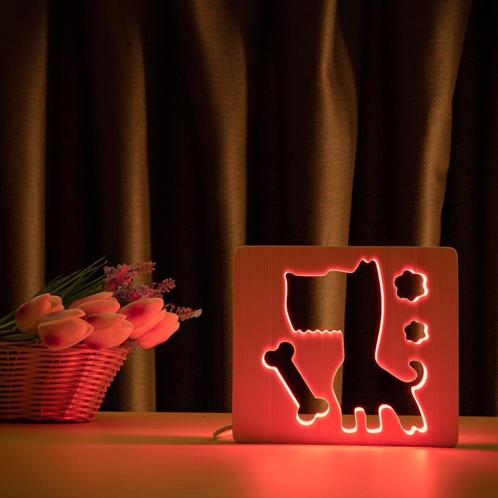 """Светильник ночник детский ArtEco Light из дерева LED """"Пес и косточка"""" с пультом и регулировкой цвета, RGB"""