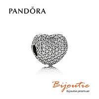 Pandora шарм-клипса СЕРДЦЕ ПАВЕ 791427CZ серебро 925 Пандора оригинал
