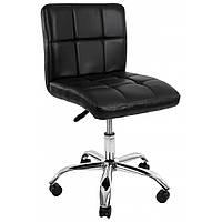 Барный стул для барной стойки хокер с спинкой на кухню на колесиках кресло Hoker эко кожа Bonro B 532 черный