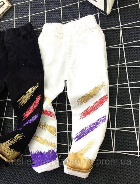 Штани для хлопчиків білі котон 7706