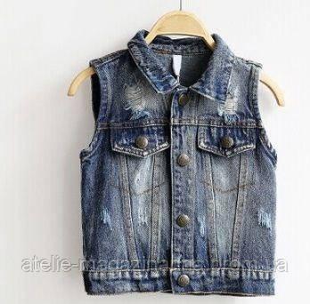 Желетка детская джинсовая синяя 8056