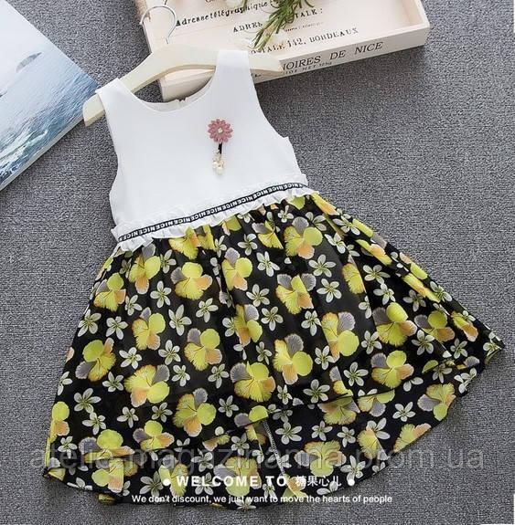 Плаття дитяче літнє з жовтими квіточками