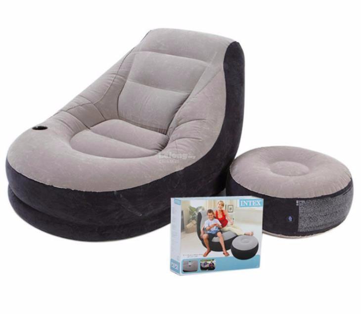 Надувное кресло с пуфиком Air Sofa Comfort - надувная мебель Intex