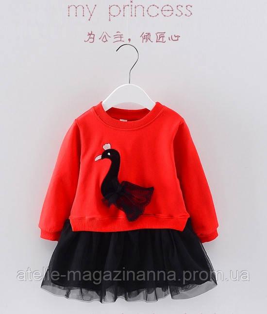Плаття дитяче з лебедем червоний верх