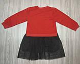 Плаття дитяче з лебедем червоний верх, фото 2